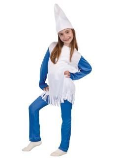 Blaue Zwergin Kinderkostüm für Mädchen blau-weiss