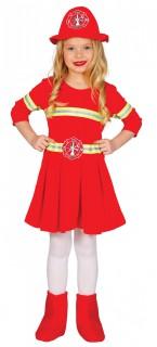 Feuerwehrfrau-Kinderkostüm Uniform rot