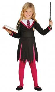 Zauberschülerin Kinderkostüm Zauberin schwarz-pink-weiss