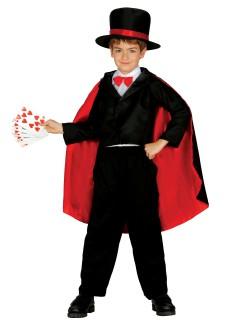 Kleiner Magier Kinderkostüm für Jungen schwarz-rot-weiss