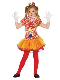 Gepunktetes Clowns-Mädchenkostüm bunt