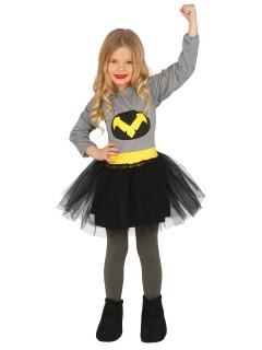 Superheldenkostüm für Mädchen grau-schwarz-gelb