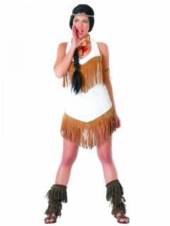 Indianerinnen-Damenkostüm mit Fransen weiss-braun