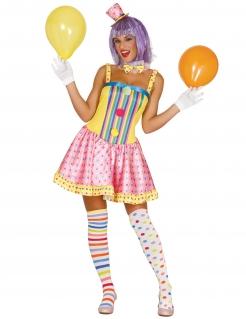 Clown-Damenkostüm Zirkus Pastell
