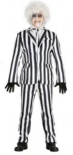 Verrückter Geist Streifen-Anzug Halloween schwarz-weiss