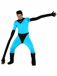 Gummimensch-Kostüm Superheld-Kostüm blau-schwarz