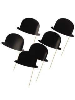 Papp-Hüte am Stick für Fotos 6 Stück schwarz