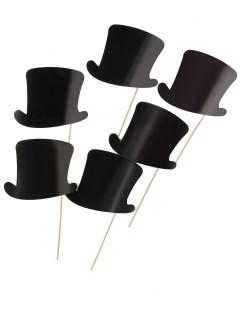 Papp-Zylinder am Stick für Fotos 6 Stück schwarz