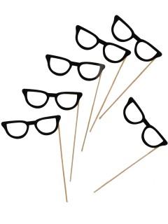 Papp-Brillen am Stick für Fotos 6 Stück schwarz