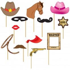 Papp-Foto-Set am Stick Cowboy 12-teilig bunt