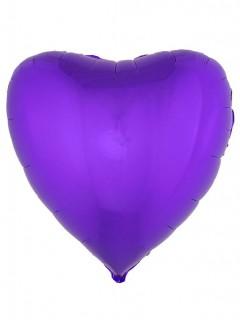 Herzförmiger Folienballon 45 cm violett