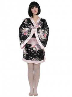 Japanischer Kimono Geisha-Kostüm schwarz-rosa