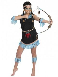 Indianerkostüm für Damen in Schwarz und Blau