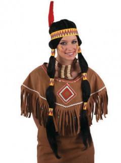 Indianerin Perücke schwarz-gelb