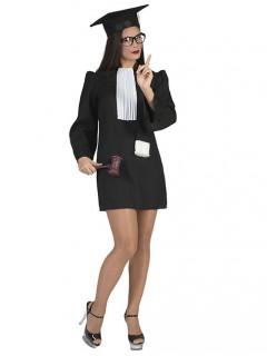 Richterin-Kostüm für Damen schwarz-weiß