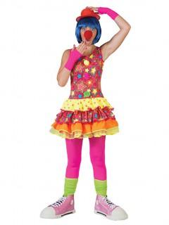 Süsse Clownfrau Damenkostüm Zirkus pink-gelb-orange