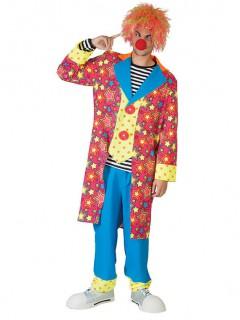Lustiger Clown Kostüm Zirkus blau-pink-gelb