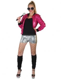 80er Disco-Paillettenjacke pink