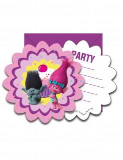 Einladungskarten mit Umschlägen Trolls™ Geburtstagskarten 6 Stück violett-bunt