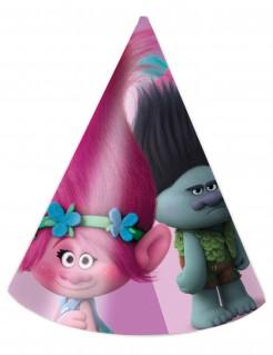Trolls™ Partyhüte für Kinder Lizenzware 6 Stück bunt