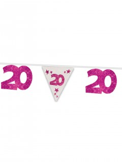 20. Geburtstag Girlande Party-Deko pink 6m