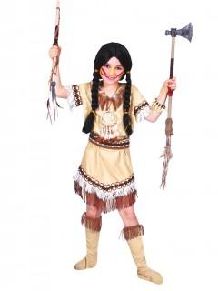 Wilde Indianerin Kinderkostüm Western beige-weiss-braun