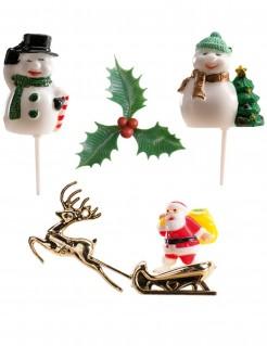 Weihnachtsdeko-Figuren für Gebäck 6 Stück bunt
