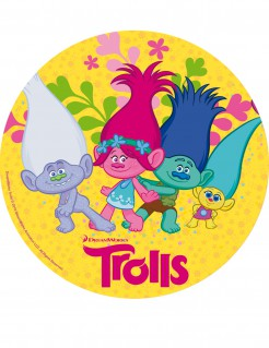 Trolls™ Zuckerscheibe Kuchen-Deko 20 cm bunt