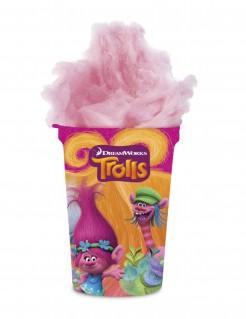 Trolls™ Zuckerwatte im Becher Kindergeburtstag-Süßigkeiten rosa-bunt 20g