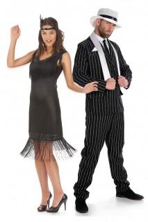 20er Jahre-Paarkostüm Charleston Karneval schwarz