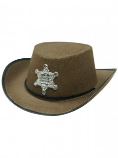 Sheriff-Hut für Kinder Cowboy braun-silber