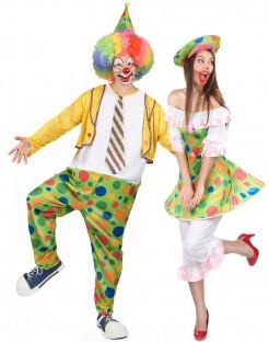 Clowns-Paarkostüm für Erwachsene bunt