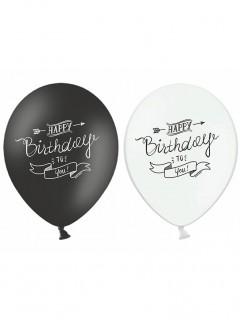 Happy Birthday Luftballons 6 Stück schwarz-weiss