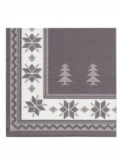 Winter Servietten Weihnachtsdeko 20 Stück grau-weiss 40x40cm