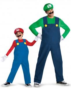 Mario™ und Luigi™ Paarkostüm Erwachsener und Kind Lizenzkostüm blau-rot-grün