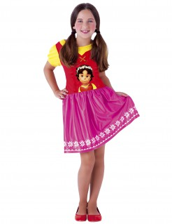 Heidi-Kostüm für Kinder rot-pink