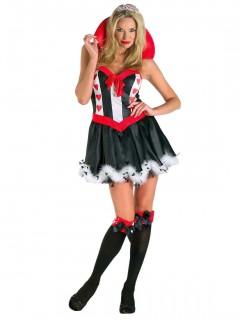 Herzdamen-Märchenkostüm schwarz-weiss-rot