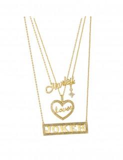 Harley Quinn Halskette Suicide Squad Kostüm-Accessoire gold 23cm