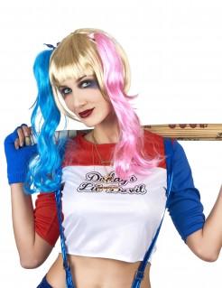 Harlekin Perücke mit Zöpfen blond-blau-rosa