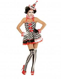 Sexy Harlekin Damenkostüm schwarz-rot-weiss