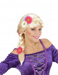 Hippie-Perücke mit Zopf und Blumen blond