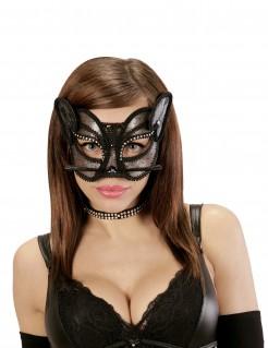 Sexy Katze Augen-Maske Spitze schwarz