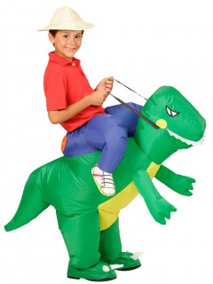 Aufblasbarer Dinosaurier Carry-Me-Kinderkostüm grün