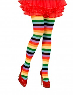 Regenbogen Ringelstrumpfhose Clown bunt