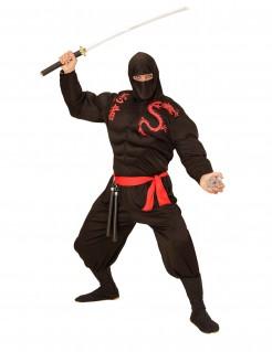 Muskulöses Ninja-Erwachsenenkostüm japanischer Krieger-Verkleidung schwarz