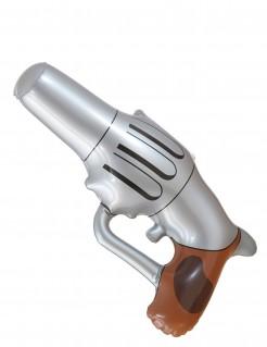 Aufblasbare Cowboy Pistole grau-braun 29cm