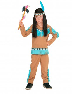 Indianer-Kostüm für Jungen braun-blau