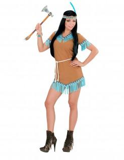 Niedliches Kostüm für Damen - Indianerin in Braun und Blau