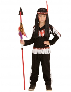 Indianer Wildwest Kinderkostüm schwarz-rot-weiss