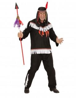 Indianer Wildwest Kostüm schwarz-weiss-rot